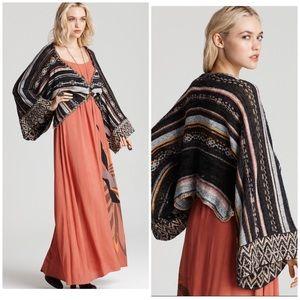 Free People Kimono Striped Bell Sleeve Cardigan